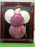 Seashell Angel Handmade Hand Painted Wall Art Shelf Sitter in Rose Holiday Decor Guardian Angel