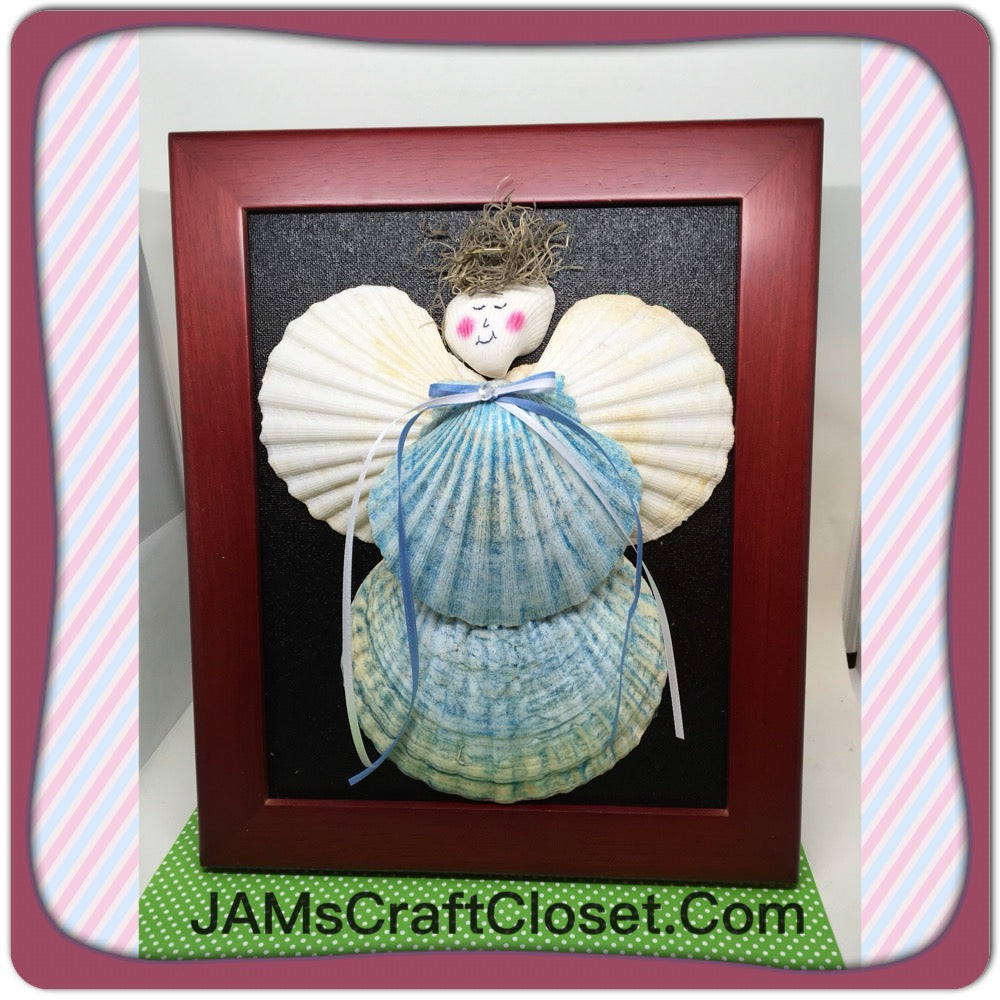 Seashell Angel Handmade Hand Painted Wall Art Shelf Sitter in Blue Holiday Decor Guardian Angel