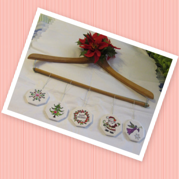 Christmas Ornaments Ceramic Tile Set of 5 Snowflake Christmas Tree Wreath Santa Angel Holiday