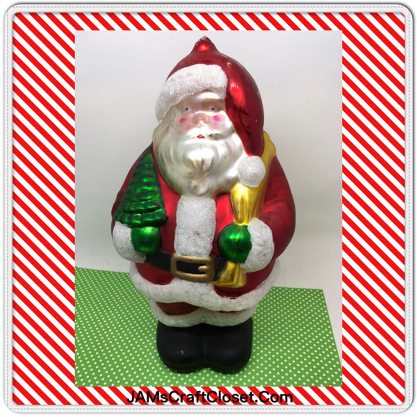 Ornament Santa Mercury Glass 9 Inches Tall With Bag Tree Glitter Trim Holiday Decor Vintage Unique JAMsCraftCloset