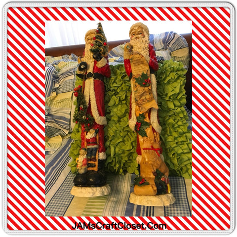 Santas Country Vintage Good List Elves and Tree 22 Inches Tall 4 Inches Wide SET OF 2
