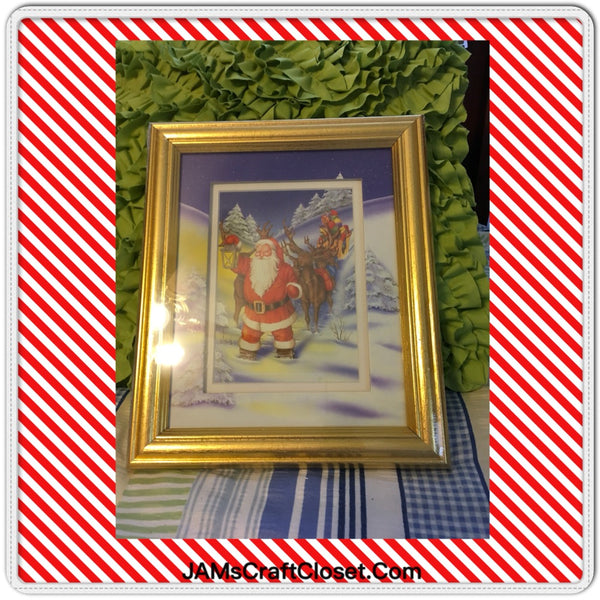 Santa Framed Pictures in Gold Frame Factory Wrapped Wall Art Holiday Decor Christmas Decor SET OF 2 JAMsCraftCloset