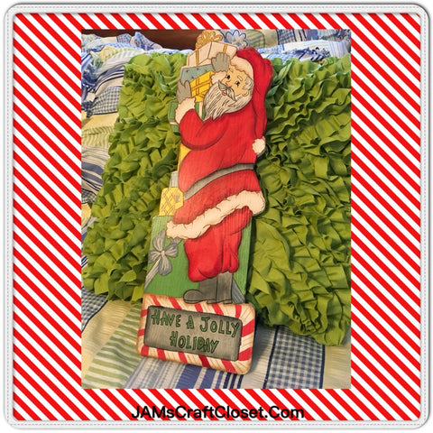 Santa Wooden Hand Painted Vintage With Packages Have A Jolly Holiday Holiday Christmas Decor
