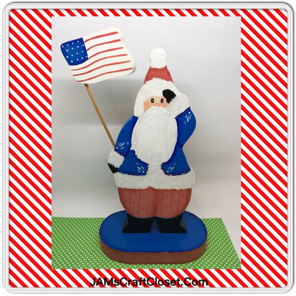 Santa Wooden Patriotic  Vintage Handmade and Hand Painted by ME Holiday Christmas Decor JAMsCraftCloset