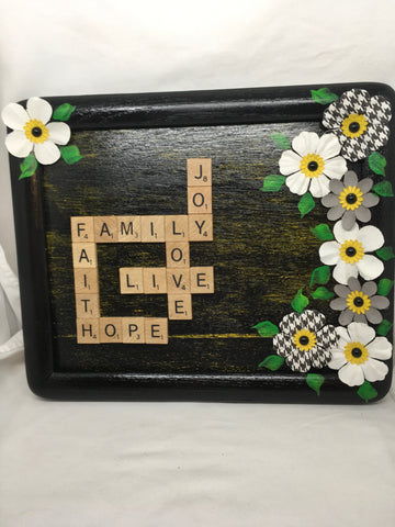 Wall Art Handmade Scrabble Pieces JOY FAMILY LOVE LIVE FAITH HOPE Home Decor Gift Idea