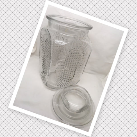 Clear Glass Canister Jar Vintage Waffle and Starburst Design Glass Stopper Lid