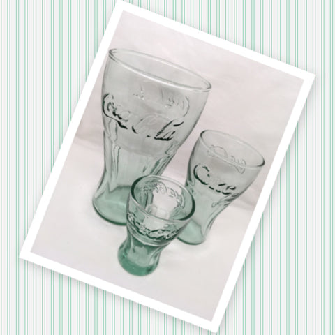 Coca Cola Glassware Vintage 3 Graduated Sizes Indiana Glass Green Glass SET OF 3