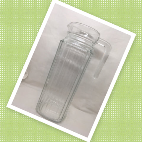 Pitcher Clear Ribbed Glass Tall Skinny Water Tea Juice Wine No Markings
