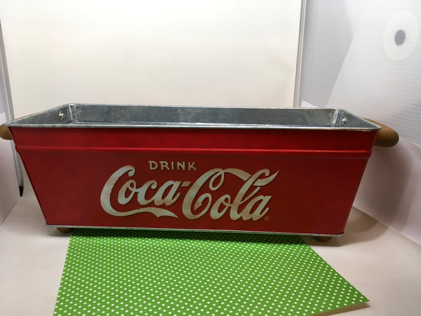 Coca Cola Tin Advertising Planter Storage Container Wood Handles and Wood Feet Vintage - JAMsCraftCloset