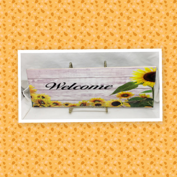 WELCOME 1 Ceramic Tile Porch Guest Room Sign Sunflowers Wall Art Wedding Gift Idea Home Country Decor Affirmation Wedding Decor Positive Saying - JAMsCraftCloset