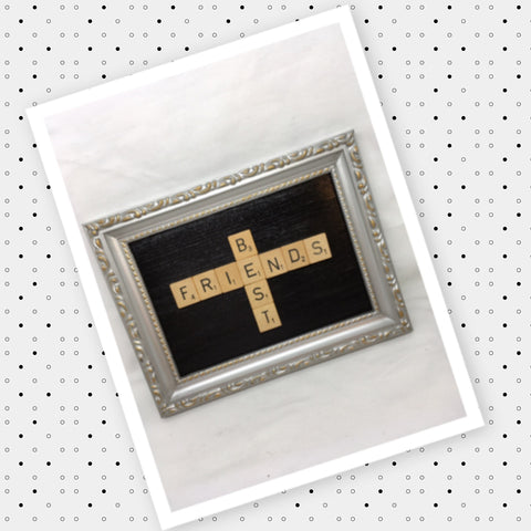 Wall Art Handmade Silver Plastic Frame Scrabble Pieces BEST FRIEND Home Decor