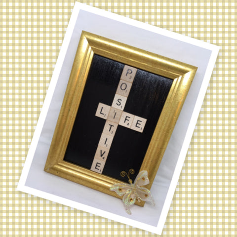Wall Art Handmade Gold Wooden Frame Scrabble Pieces POSITIVE LIFE Home Decor