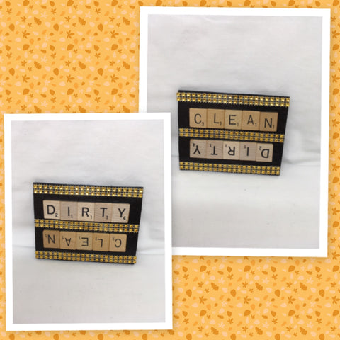 Dishwasher Magnet Handmade Wooden Scrabble Pieces CLEAN DIRTY Kitchen Decor