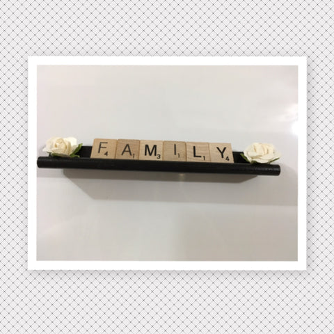 Ornament Magnet Wall Art Handmade Wooden Scrabble Pieces FAMILY Kitchen Decor