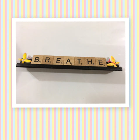 Ornament Magnet Wall Art Handmade Wooden Scrabble Pieces BREATHE Kitchen Decor