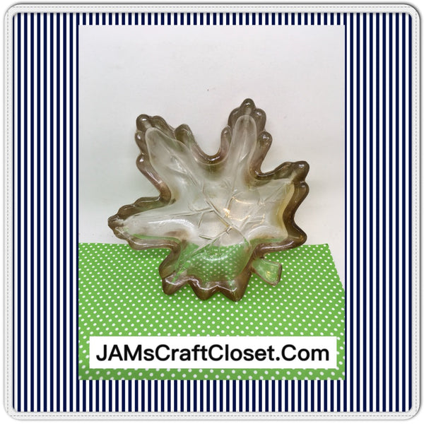 Candy Dish or Ashtray SMALL Glass Amber Maple Leaf Vintage Home Decor Country Decor - JAMsCraftCloset