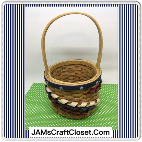 Basket Flower Girl TINY Woven Basket Patriotic Red White Blue Toddler Wedding Accessory Table Decor - JAMsCraftCloset