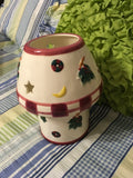 Candle Lamp Ceramic Holiday Christmas Decor Red and White - JAMsCraftCloset