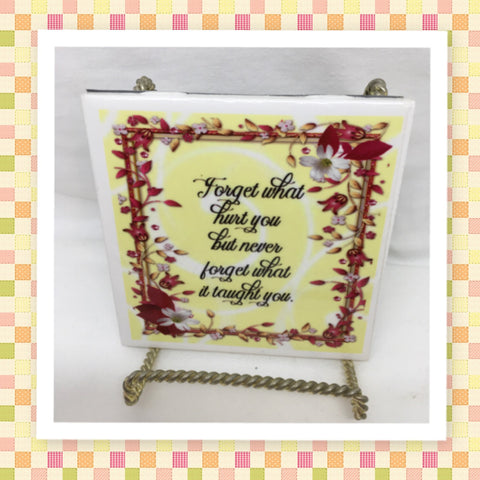 FORGOT WHAT HURT YOU Wall Art Ceramic Tile Sign Gift Idea Home Decor Positive Saying Gift Idea Handmade Sign Country Farmhouse Gift Campers RV Gift Home and Living Wall Hanging Love Valentine gift - JAMsCraftCloset
