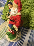 Santa Ceramic Vintage Shelf Sitter 9 Inches Tall Holiday Decor Holding Little Girl and Boy