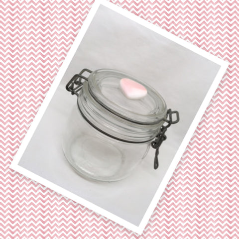 Flip Top Glass Jar La Parfait Super Vintage 4 Inches Tall Wire Bale NO Rubber Seal Clear Glass Top Pink Heart Decor Gift Idea Collectible Made in France
