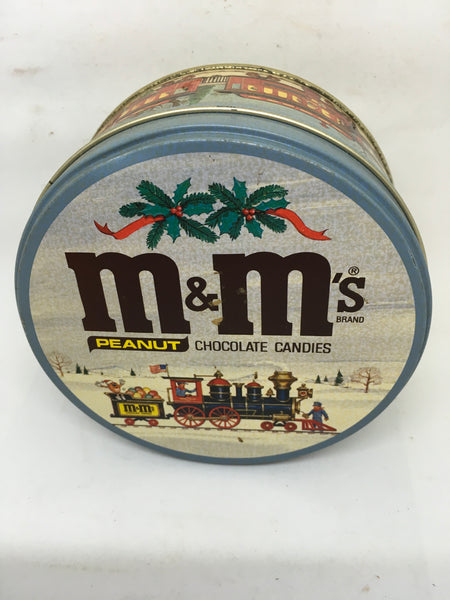 Tin Vintage M and Ms Christmas Train Scene Round Advertising Tin Collector