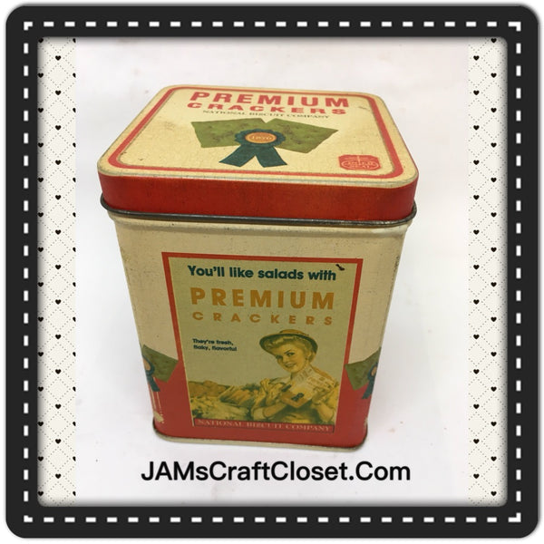 Tin Vintage Premium Crackers Advertising Tin Collector Unusual JAMsCraftCloset