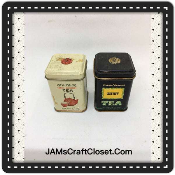 Tin Vintage Cha Ching PLUS Keemun Tea Advertising Tin Collector - Some tea still in tin - SET OF 2 JAMsCraftCloset