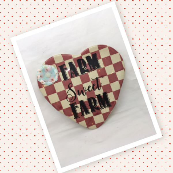 Plate Heart Red Checkered Hand Painted Upcycled Repurposed FARM SWEET FARM Home Decor Wall Art Gift Idea JAMsCraftCloset