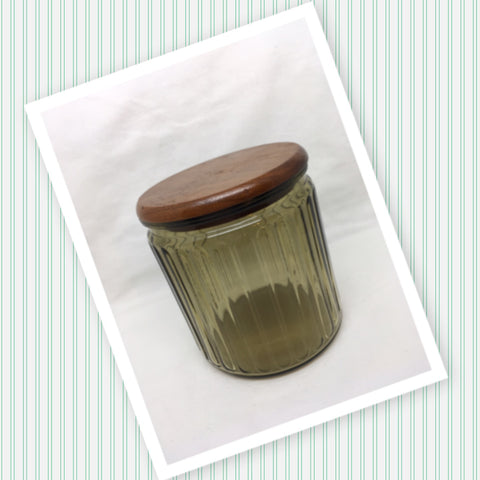 Green Glass Canister Jar Vintage Canister Round Wooden Stopper Lid Gift Idea Storage Kitchen Decor Great Gift Idea Collectible