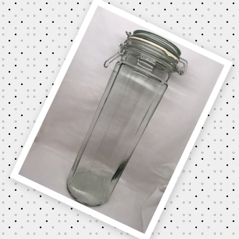 Canister Flip Top Pale Green Glass Jar Vintage Pasta 13 In Tall Storage White Rubber Seal