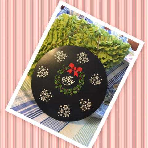 JOY Hand Painted Round Metal Wall Art Wreath Snowflakes Sign Gift Idea Holiday Decor
