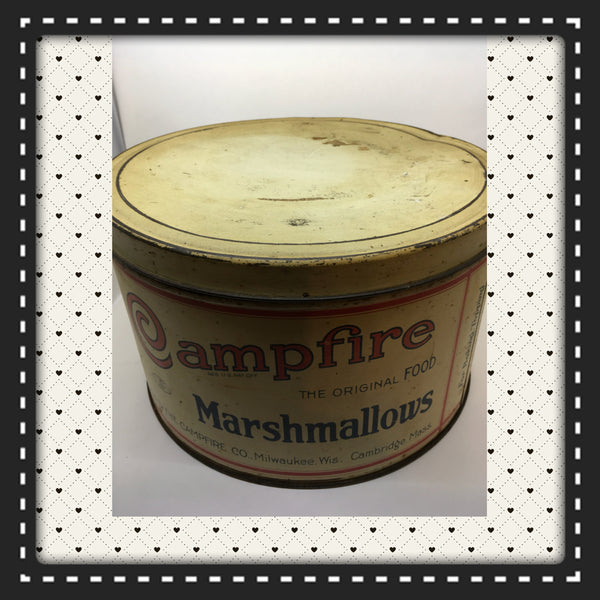 Tin Vintage Campfire Marshmallows 5 Lbs Advertising Tin Collector Tin c. 1930 JAMsCraftCloset
