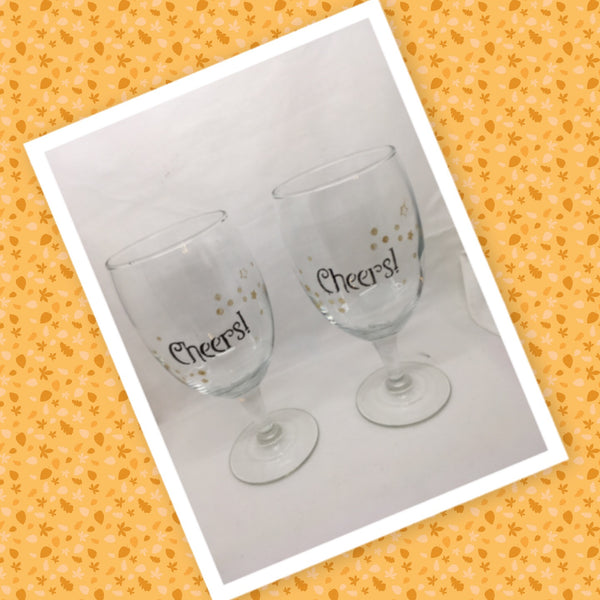 CHEERS Glasses Stemware Glasses Wine Glasses Barware Party Set of 2 Gift Idea Home Decor Kitchen Dining Gift Unique Hand Painted Stemware JAMsCraftCloset