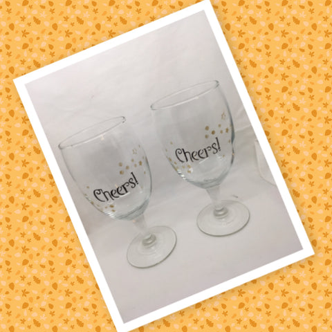 CHEERS Glasses Stemware Glasses Wine Glasses Barware Party Set of 2 Gift Idea