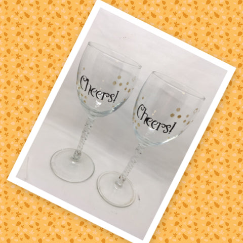 CHEERS Glasses Stemware Glasses Wine Glasses Twisted Stems Barware Party Set of 2 Gift Idea Home Decor Kitchen Dining Gift Unique Hand Painted Stemware JAMsCraftCloset
