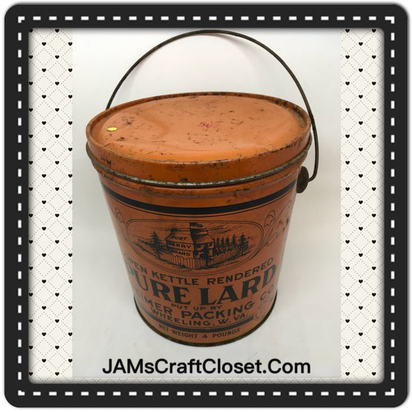 Tin Vintage Lard by Weimer Packing Company Wheeling West Virginia Advertising Tin Collector Tin JAMsCraftCloset