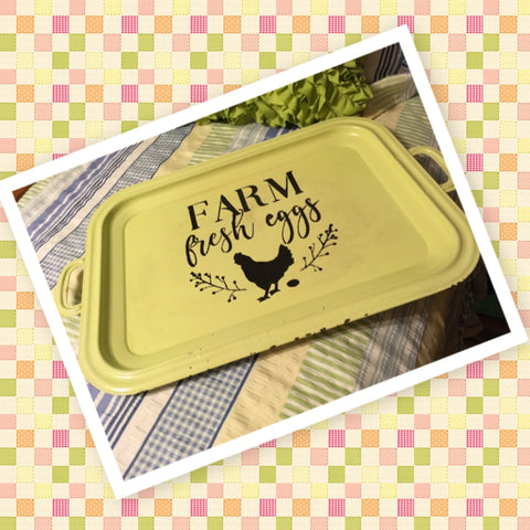 Serving Tray Vintage Mint Green FARM FRESH EGGS Heavy Metal Hand Painted Gift Idea Kitchen Decor
