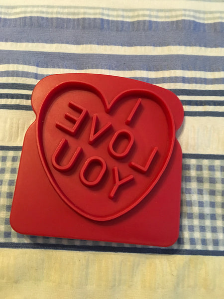 Cookie Cutters Red Plastic I LOVE YOU Press It in a Piece of Bread and Toast - JAMsCraftCloset
