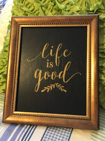 LIFE IS GOOD Dotted Gold Framed Saying Sign Wall Art Hand Painted Home Decor Gift