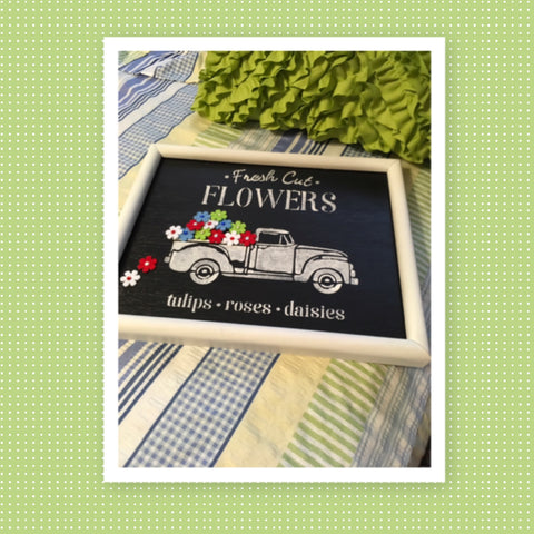 FRESH CUT FLOWERS TRUCK on White Framed Black Background Wall Art Farmhouse Decor