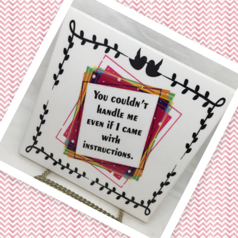 YOU COULD NOT HANDLE ME WITH INSTRUCTIONS Wall Art Ceramic Tile Sign Gift Idea Home Decor Positive Saying Gift Idea Handmade Sign Country Farmhouse Gift Campers RV Gift Home and Living Wall Hanging - JAMsCraftCloset