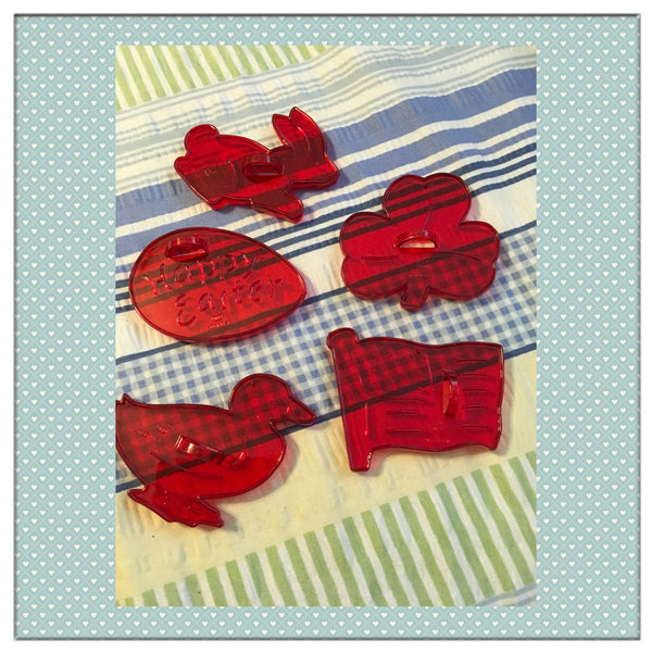 Cookie Cutters Bright Red Plastic Holiday Easter Saint Patrick Day Patriotic SET OF 5 - JAMsCraftCloset