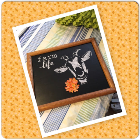 FARM LIFE GOAT With Orange FLOWERS Wood Frame Wall Art Farmhouse Kitchen Decor
