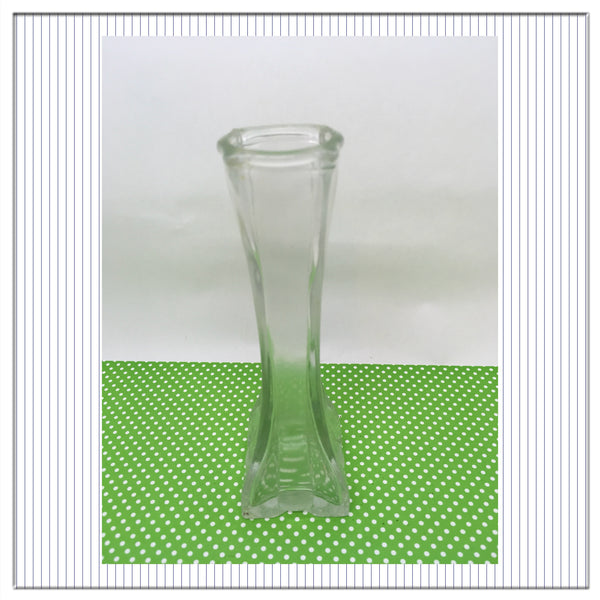 Vase SMALL Vintage Clear Glass Bud Vase Round at the Top and Square Bottom JAMsCraftCloset