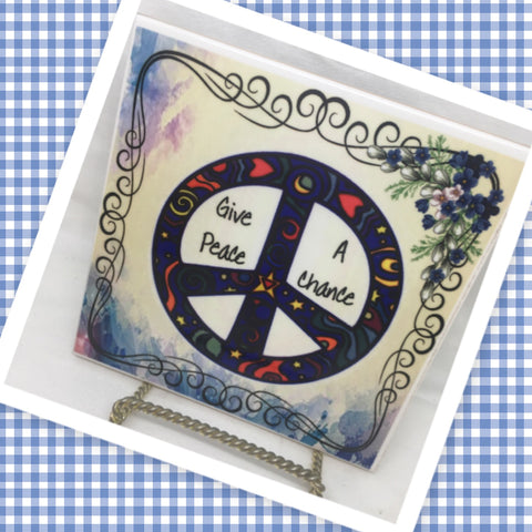 GIVE PEACE A CHANCE Wall Art Ceramic Tile Sign Hippie Gift Idea Home Decor Positive Saying Gift Idea Handmade Sign Country Farmhouse Gift Campers RV Gift Home and Living Wall Hanging - JAMsCraftCloset