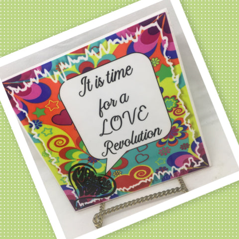 IT IS TIME FOR A LOVE REVOLUTION Wall Art Ceramic Tile Sign Hippie Gift Idea Home Decor Positive Saying Gift Idea Handmade Sign Country Farmhouse Gift Campers RV Gift Home and Living Wall Hanging - JAMsCraftCloset