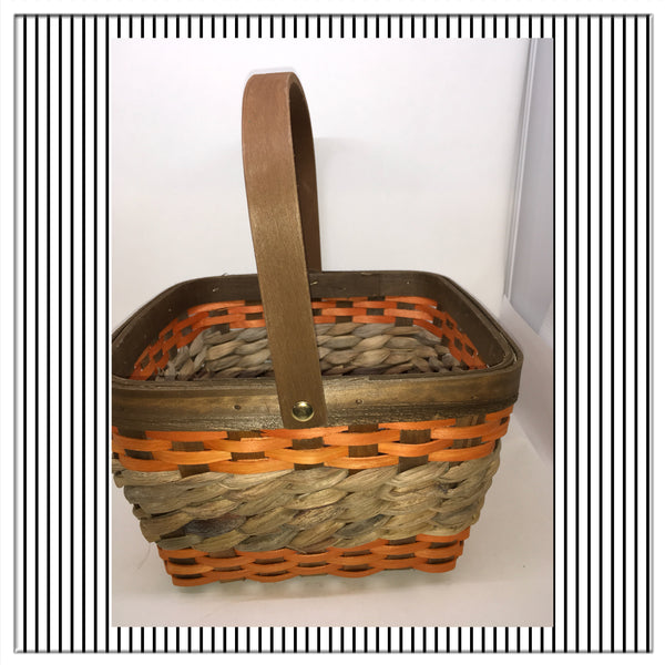 Basket Flower Girl Woven Square Fall Brown and Orange Stripes Basket Natural  Wedding - JAMsCraftCloset