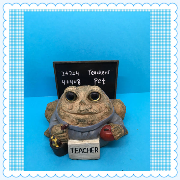 Teacher Pet Desk Accessory Toad Frog Holding Apple and Pencil Blackboard Background c. 2008