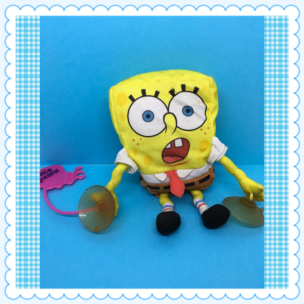 "SpongeBob SquarePants TY Window Wall Display with Suction Cups 7"" Tall by Mattel c. 2002 JAMsCraftCloset"